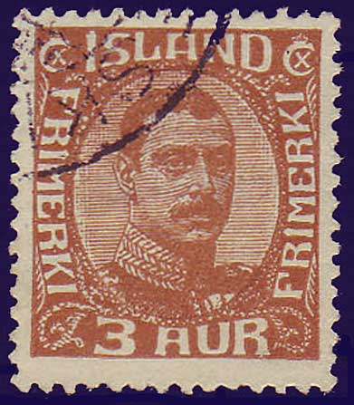IC01095 Iceland Scott # 109 VF Used, Christian X 1920