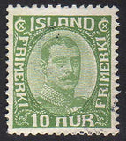 IC0116var5 Iceland Scott # 116 variant VF used, Christian X 1921