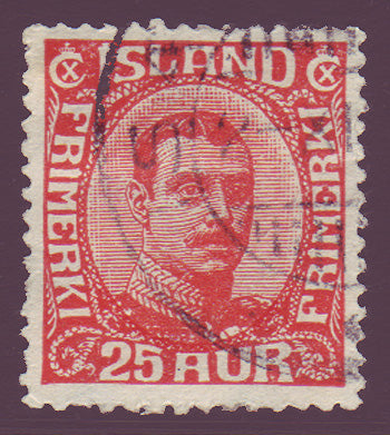 IC01215 Iceland Scott # 121 VF used, Christian X 1920