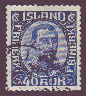 IC01242 Iceland Scott # 124 VF used, Christian X 1921