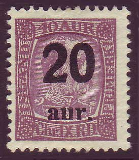 IC01342 Iceland Scott # 134 MH surcharge 1922