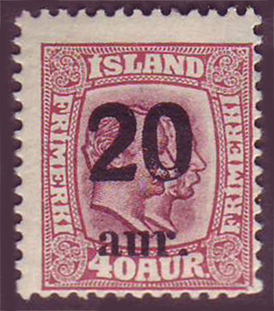 IC01352 Iceland Scott # 135 MH surcharge 1922