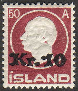 IC01402 Iceland Scott # 140 VF MH surcharge 1925