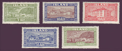 IC0144-481WJ Iceland Scott # 144-48 VF MNH** Views and Buildings 1925