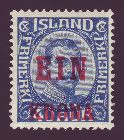 IC01501 Iceland Scott # 150 MNH**, ''EIN KRONA'' overprint in red 1926.