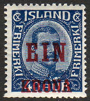 IC01502 Iceland Scott # 150 MH, ''EIN KRONA'' overprint in red 1926.