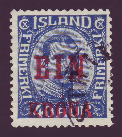 IC01505 Iceland Scott # 150 Used,  ''EIN KRONA'' overprint in red 1926.