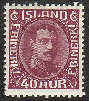 IC01845 Iceland Scott # 184 VF MH, Christian X 1931-33