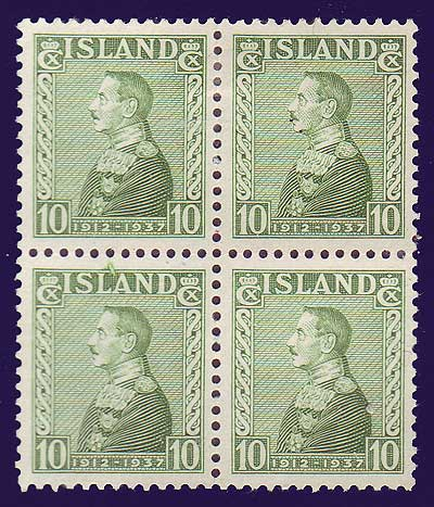 IC01992x4 Iceland Scott # 199 VF MH,  Christian X 1937