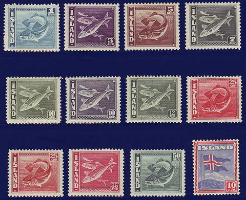 IC0217-282 Iceland Scott # 217-28 VF MH, Fish and Flag 1939-45