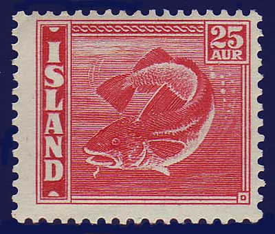 IC0224b2 Iceland Scott # 224b MH, Cod Fish 1940