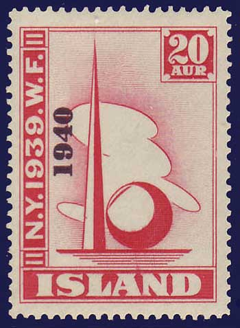 IC02322 Iceland Scott # 232 VF MNH** New York World's Fair overprint ''1940''
