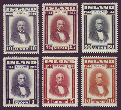 IC0240-451 Iceland Scott # 240-45 VF MNH**, Jon Sigurdsson 1944