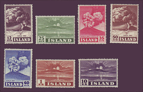 IC0246-52WJ Iceland Scott # 246-52  MNH**,  Eruption of Mt. Hekla 1948