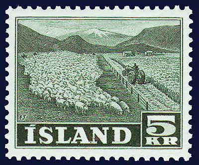 IC02682 Iceland Scott # 268 XF LH, Flock of Sheep 1950