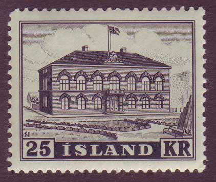 IC02732 Iceland Scott # 273 XF MH, 25kr Parliament Building 1952