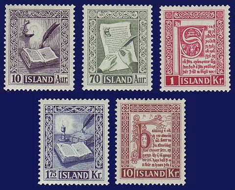 IC0278-821 Iceland Scott # 278-82 VF MNH, Medieval Manuscripts 1953