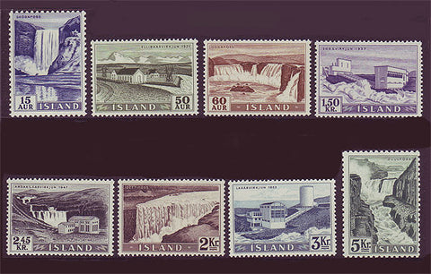 IC0289-961 Iceland Scott # 289-96 MNH, Waterfalls and Hydro Dams 1956