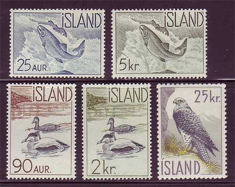 IC0319-232 Iceland Scott # 319-23 MNH, Fish and Birds 1959-60