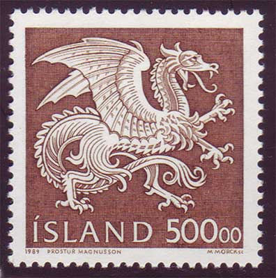 IC0675-761 Iceland Scott # 677 MNH, Dragon - 500kr Guardian Spirit 1989