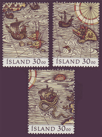 IC0681a-c1 Iceland Scott # 681a-c MNH, Stamp Day 1989
