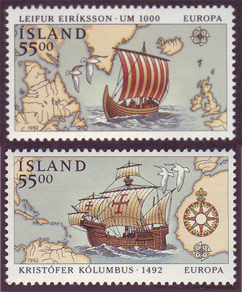 IC0749-50 Iceland Scott # 749-50 MNH, Europa 1992 - Discovery of America
