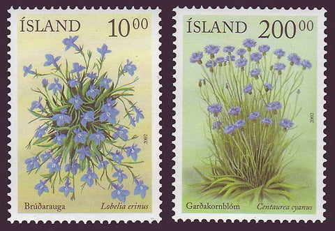 IC0968-691 Iceland       Scott # 968-69 MNH,         Blue Flowers 2002