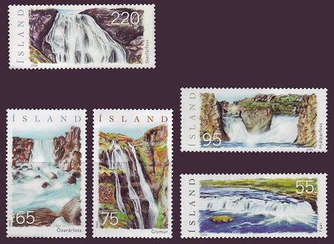 IC1077-811 Iceland       Scott # 1077-81 MNH, Waterfalls 2006