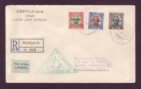 IC5001 Iceland Scott # C9-C11 Zeppelin Cover to Spain 1931