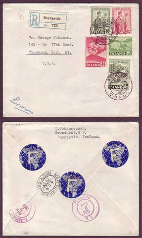 IC5016 Iceland Registered cover to USA 1951
