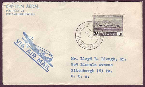 IC5017PH Iceland  Airmail to USA 1959