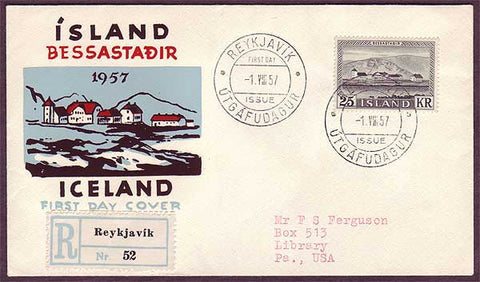 IC5019PH Iceland  Registered First Day Cover to USA 1957