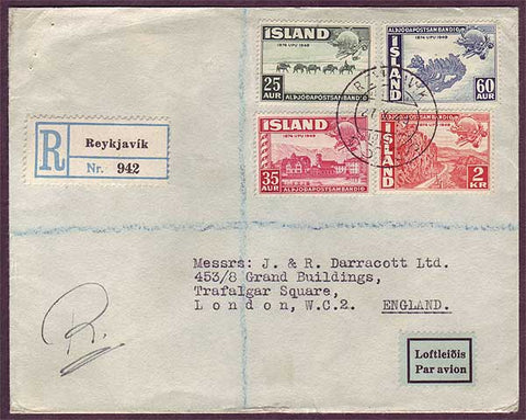 IC5020PH Iceland  Registered Air Mail to England 1949