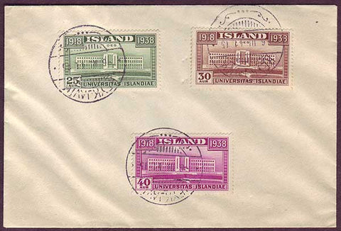IC5021PH Iceland, University of Iceland set cancelled on cover 1938.