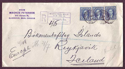 IC5027 Canada Registered letter to Iceland 1939