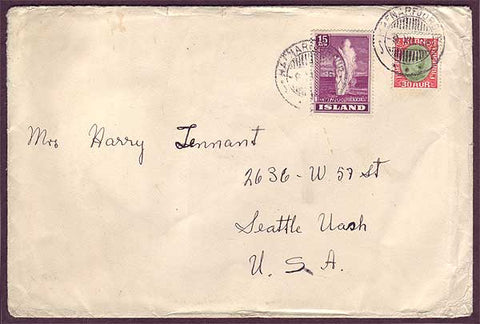 IC5031PH Iceland Cover to USA 1938