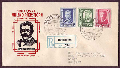 IC5041PH Iceland Registered First Day Cover to Belgium 1954