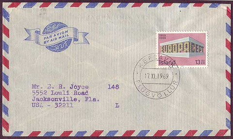 IC5045PH Iceland Airmail letter to USA 1969