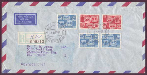 IC5046PH Iceland Registered airmail letter to USA 1969