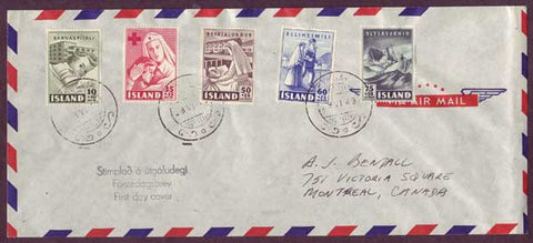 IC5048PH Iceland First Day Cover to Canada 1949
