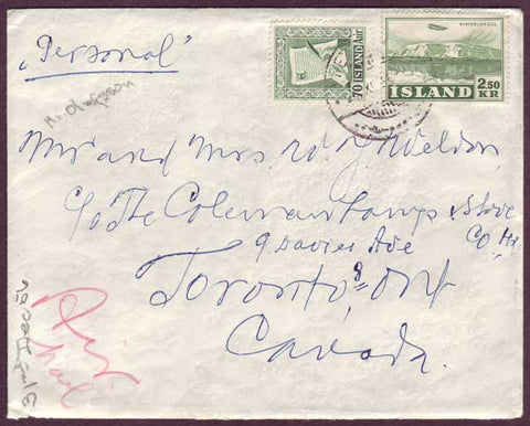 IC5054PH Iceland Air Mail Letter to Canada, December 1956