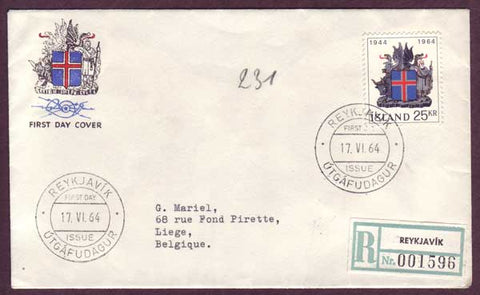 IC5060PH Iceland Registered First Day Cover to Belgium 1964