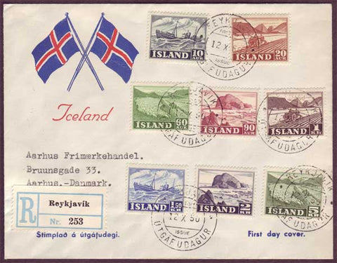 IC5064PH Iceland Registered First Day Cover to Denmark 1950
