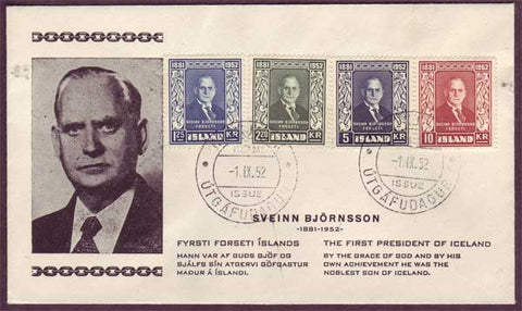 IC5065PH Iceland  First Day Cover - Sveinn Björnsson 1952