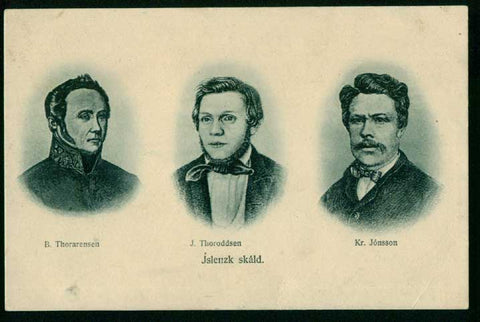 IC6005 Iceland postcard, Honours three Icelandic poets. Unused, some writing on back side.