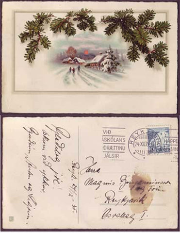 IC6014 Iceland Scott # 193 on local Xmas postcard 1935