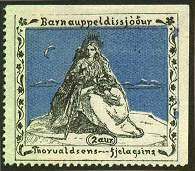 IC819132 Iceland                1913 Christmas Seal MH              Thorvaldsen Society