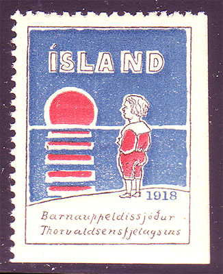 IC819182 Iceland         1918 Thorvaldsen Society MH