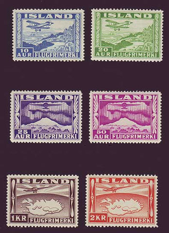 Shows Iceeland Air Mail stamps set of 6.  Features airplanes flying over Iceland and the Northern Lights.