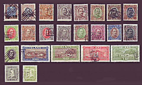 ICtollurlot1 Iceland, Tollur Cancels - Small Lot of 23 Different